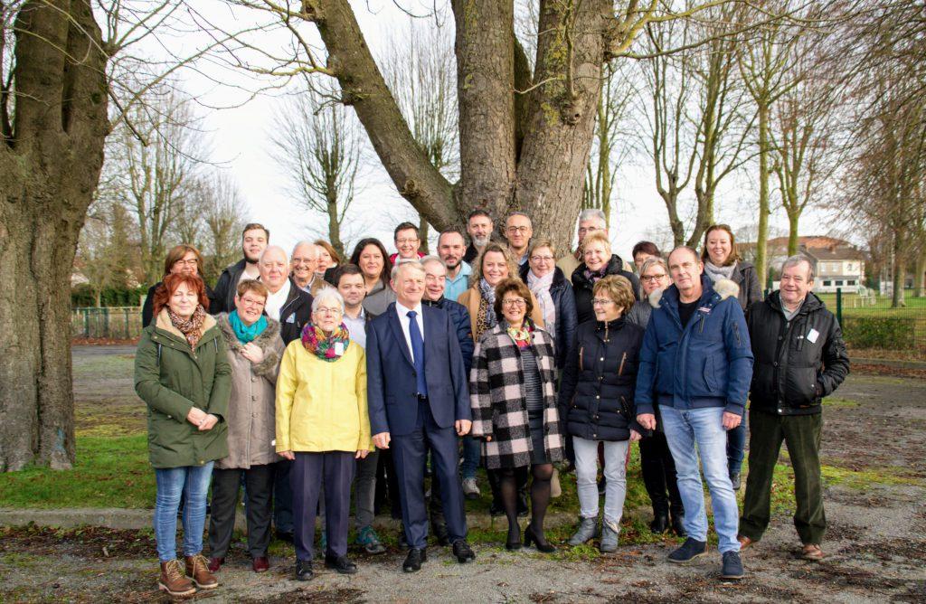 l'équipe Achicourt Autrement pour les élections municipales de mars 2020 réunie au Stade Camphin