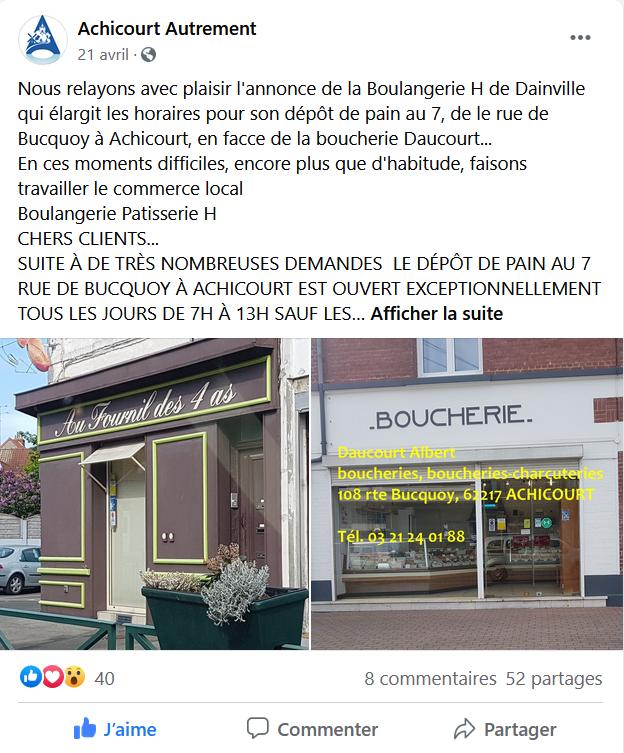 Post facebook pour la boulangerie route de Buquoy