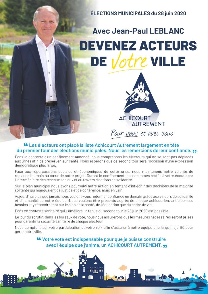 """Recto du tract de l""""entre deux tour des élections municipale de juin 2020"""